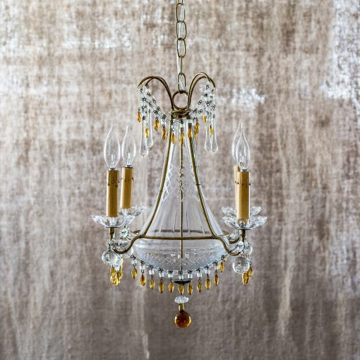 Antique italian chandelier w cut crystal and amber glass accent c antique italian chandelier w cut crystal and amber glass accent c 1912 ormolu design aloadofball Gallery
